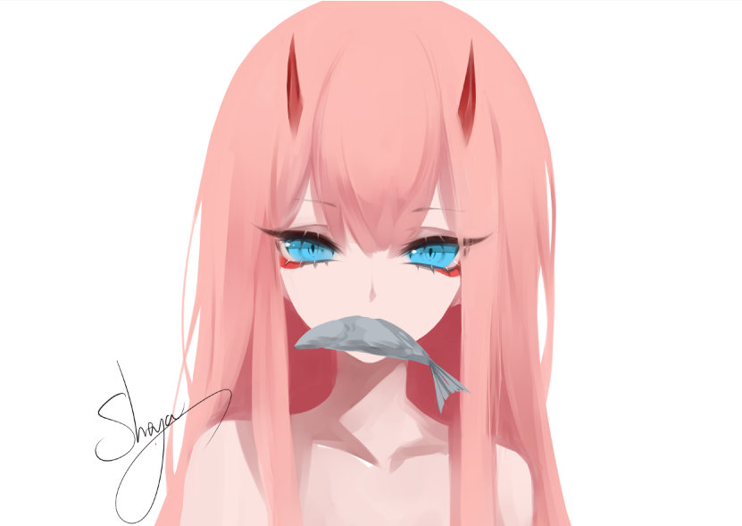 1girl artist_name bangs blue_eyes chinese_commentary collarbone commentary_request darling_in_the_franxx eyebrows_visible_through_hair eyelashes eyeshadow fish hair_between_eyes horns long_hair makeup mouth_hold nude pink_hair portrait sheya sidelocks signature simple_background solo white_background zero_two_(darling_in_the_franxx)