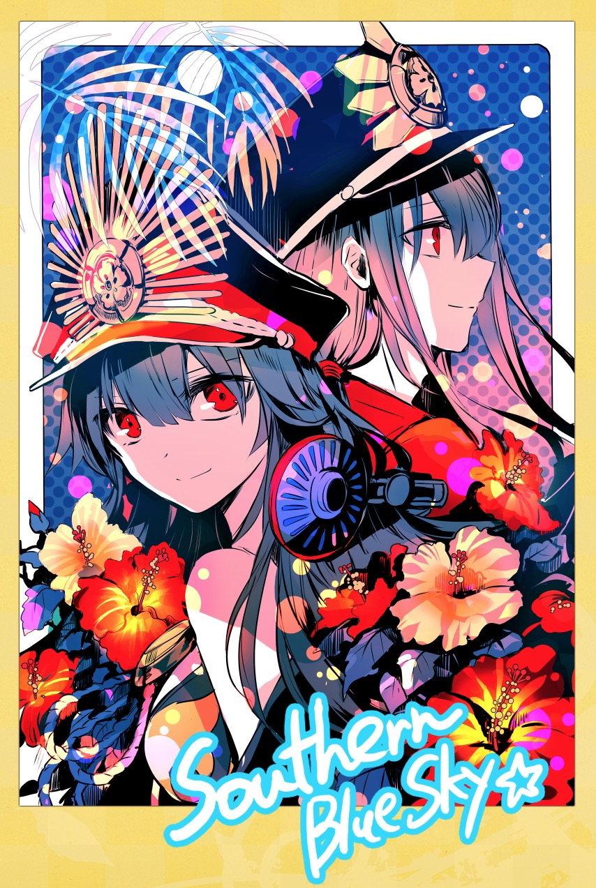 1boy 1girl bangs border brother_and_sister closed_mouth fate_(series) flower hair_between_eyes hat headphones highres koha-ace limited_palette long_hair looking_at_viewer oda_nobukatsu_(fate/grand_order) oda_nobunaga_(fate) peaked_cap profile red_eyes red_flower rioka_(southern_blue_sky) siblings signature smile yellow_border