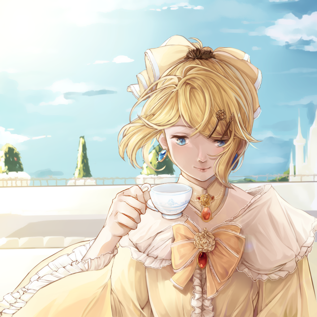 1girl aku_no_musume_(vocaloid) balcony blonde_hair blue_eyes blue_sky bow bush castle choker clouds cup dress drinking earrings evillious_nendaiki flat_chest frilled_sleeves frills hair_bow hair_ornament hairpin holding holding_cup jewelry kagamine_rin lens_flare lips princess riliane_lucifen_d'autriche rlf_00 sky smile solo sun sunlight teacup torii updo vocaloid wide_sleeves yellow_dress