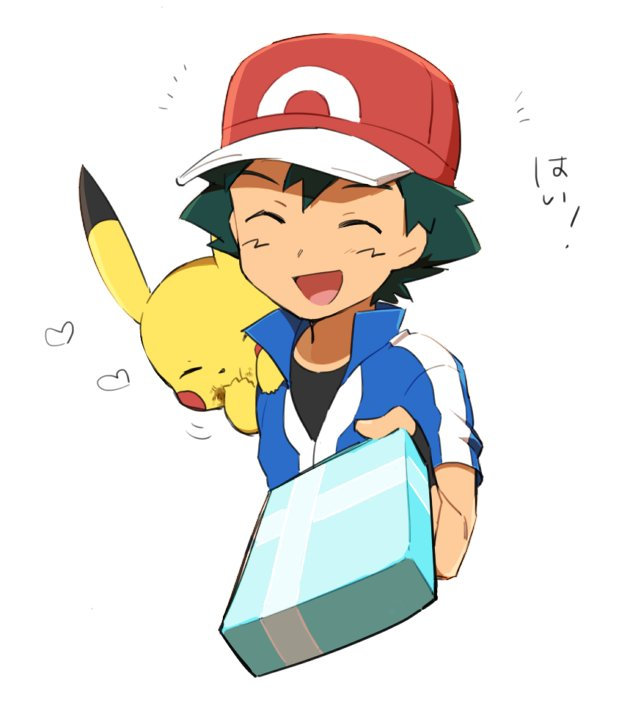 1boy ame_(ame025) ash_ketchum bangs baseball_cap black_gloves black_shirt blue_jacket box collared_jacket commentary_request eating facing_viewer fingerless_gloves food food_on_face gen_1_pokemon gloves green_hair hat heart holding holding_box incoming_gift jacket male_focus on_shoulder open_mouth pikachu pokemon pokemon_(anime) pokemon_(creature) pokemon_on_shoulder pokemon_xy_(anime) popped_collar red_headwear shirt short_hair short_sleeves simple_background smile tongue white_background  d