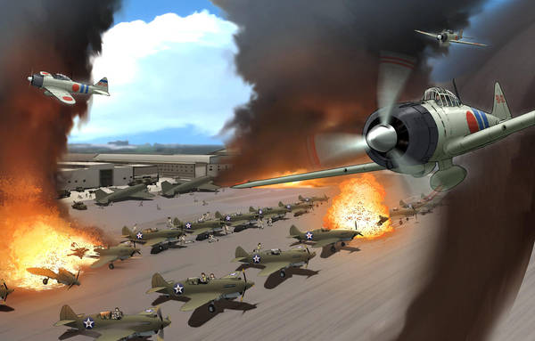 a6m_zero aircraft america battle building clouds commentary english_commentary explosion flying hangar imperial_japanese_army imperial_japanese_navy joewight jumpsuit motion_blur multiple_boys p-40_warhawk pearl_harbor_(manga) pilot propeller real_life roundel ruins running smoke united_states world_war_ii