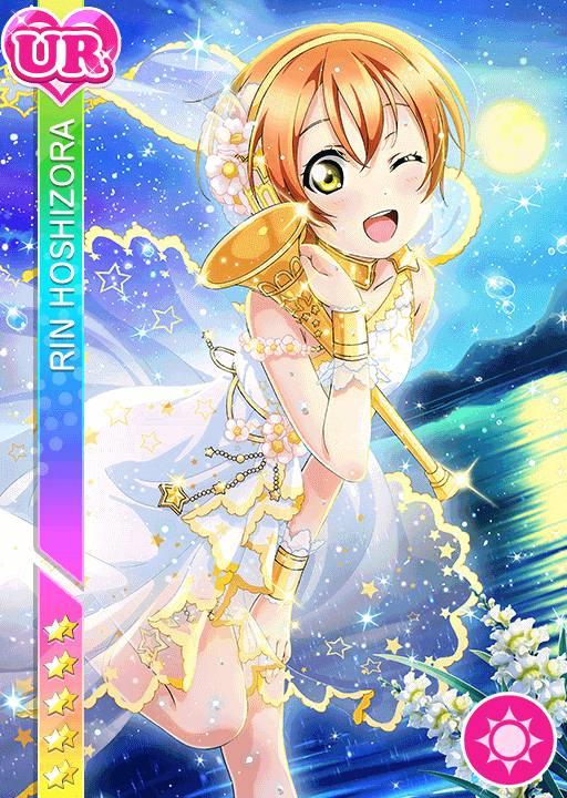 blush character_name dress green_eyes hoshizora_rin love_live!_school_idol_festival love_live!_school_idol_project orange_hair short_hair sky smile wink