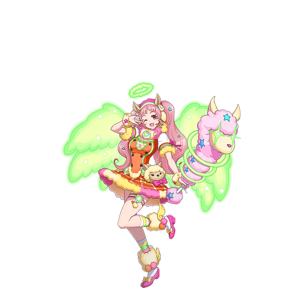 1girl ;d angel_rock:feel_girls_emotion animal_ears bow green_wings hairband halo headset llama long_hair official_art one_eye_closed open_mouth pink_bow pink_footwear pink_hair pose red_skirt short_sleeves skirt smile solo standing standing_on_one_leg stuffed_animal stuffed_toy thigh_strap transparent_background very_long_hair watanabe_(angel_rock) wings