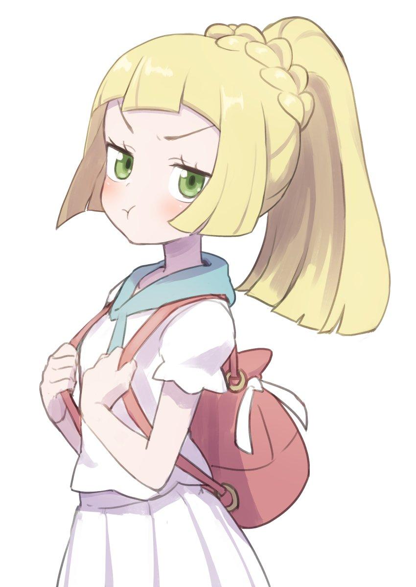1girl backpack bag blonde_hair creatures_(company) frown game_freak gazacy_(dai) green_eyes highres lillie_(pokemon) nintendo pokemon pokemon_(game) pokemon_sm ponytail pout short_sleeves skirt white_background