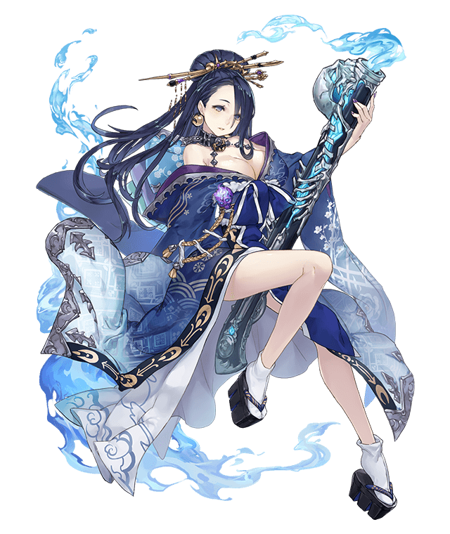 1girl between_legs blue_fire blue_hair bone breasts collar earrings fire floral_print full_body gun hair_over_one_eye japanese_clothes jewelry ji_no kaguya_hime_(sinoalice) kimono large_breasts looking_at_viewer nail_polish off_shoulder official_art platform_footwear rifle sandals sinoalice skull socks solo transparent_background weapon