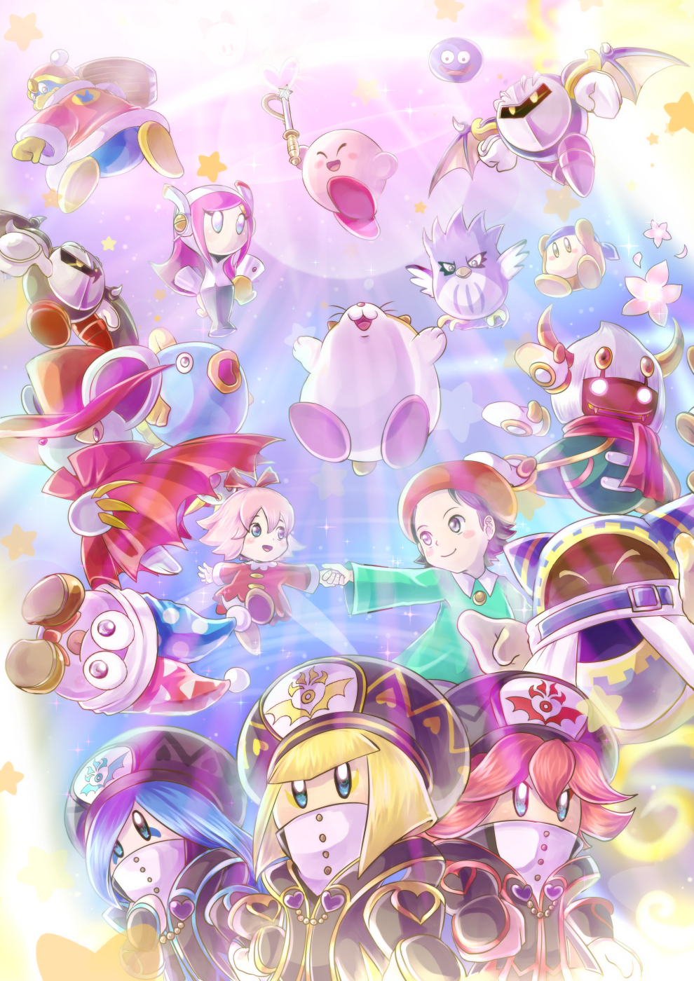 6+boys 6+girls adeleine bandanna beret black_hair blonde_hair blue_hair claws cloak coo_(kirby) dark_meta_knight daroach everyone flamberge_(kirby) flower flying francisca_(kirby) gooey hammer hand_holding hat high_collar highres kine_(kirby) king_dedede kirby kirby:_star_allies kirby_(series) konna-nani magolor marx mask meta_knight midair multiple_boys multiple_girls nintendo open_mouth pink_hair redhead ribbon_(kirby) rick_(kirby) smile star susie_(kirby) taranza waddle_dee wand zan_partizanne
