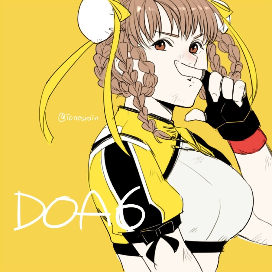 1girl araya_hajime artist_name bangs braid breasts brown_eyes brown_hair commentary_request dead_or_alive dead_or_alive_6 double_bun fingerless_gloves gloves lei_fang looking_at_viewer medium_breasts short_sleeves simple_background solo twin_braids upper_body yellow yellow_background