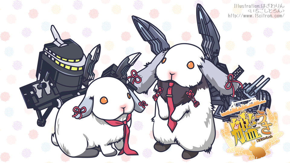 animalization artist_name copyright_name dotted_background headgear ichigo_citron kantai_collection murakumo_(kantai_collection) necktie orange_eyes rabbit rigging watermark web_address