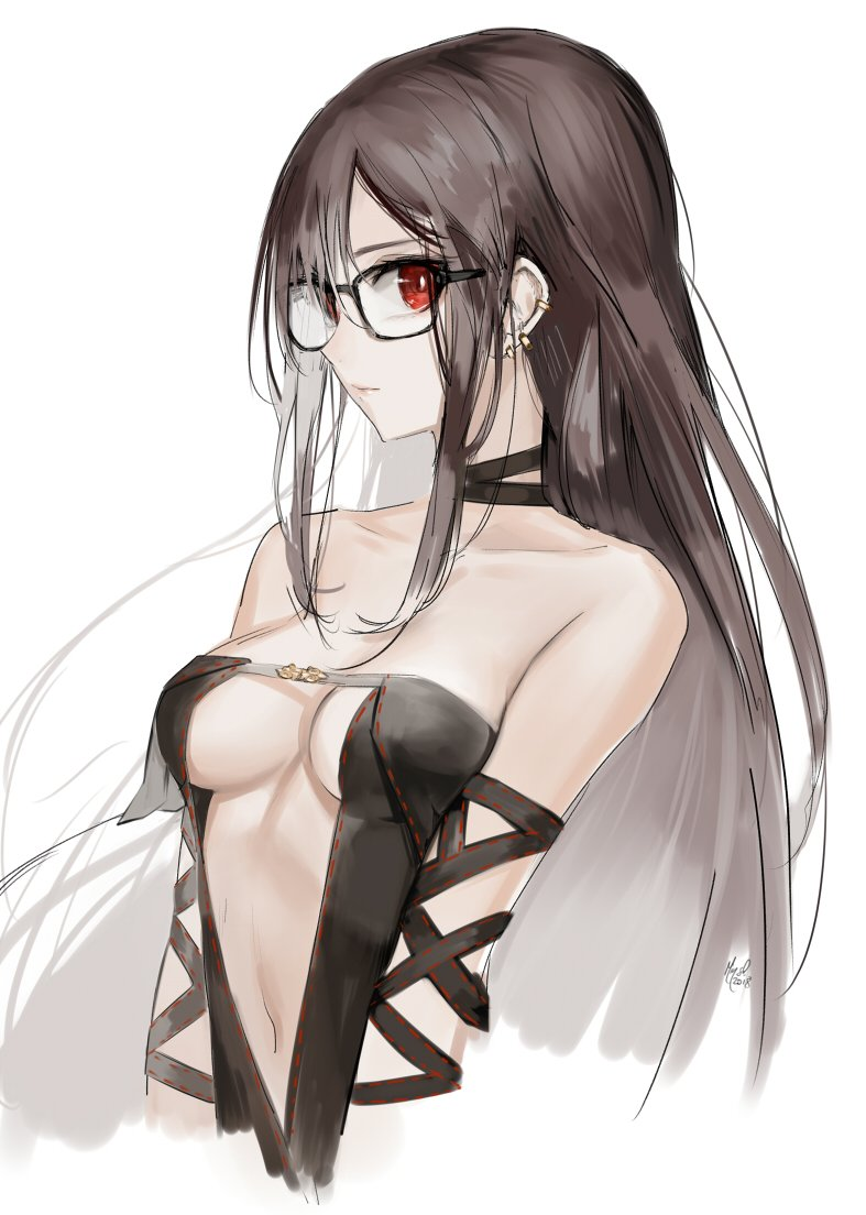 1girl bangs bare_shoulders black_dress breasts brown_hair center_opening choker cleavage closed_mouth collarbone consort_yu_(fate) dress earrings fate/grand_order fate_(series) glasses jewelry long_hair looking_at_viewer medium_breasts mins_(minevi) navel red_eyes revealing_clothes sideboob solo strapless strapless_dress upper_body very_long_hair