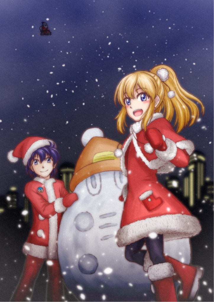 1boy 1girl abanasosu bangs black_hair blonde_hair blue_eyes blush boots capcom capelet christmas closed_mouth coat eyebrows_visible_through_hair fur_trim gloves hair_between_eyes hair_ornament hat high_ponytail leg_up long_hair night open_mouth outdoors pom_pom_(clothes) ponytail red_capelet red_gloves rockman rockman_(character) rockman_(classic) roll santa_costume santa_hat sidelocks smile snow snowman source_request standing