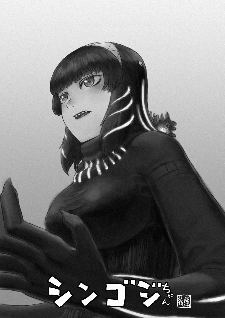 1girl bangs commentary_request glowing glowing_hair godzilla godzilla_(series) greyscale hair_ornament hairband hands_up highres kishida_shiki long_sleeves looking_afar medium_hair monochrome open_mouth personification sharp_teeth shin_godzilla solo sweater taut_clothes teeth title turtleneck upper_body