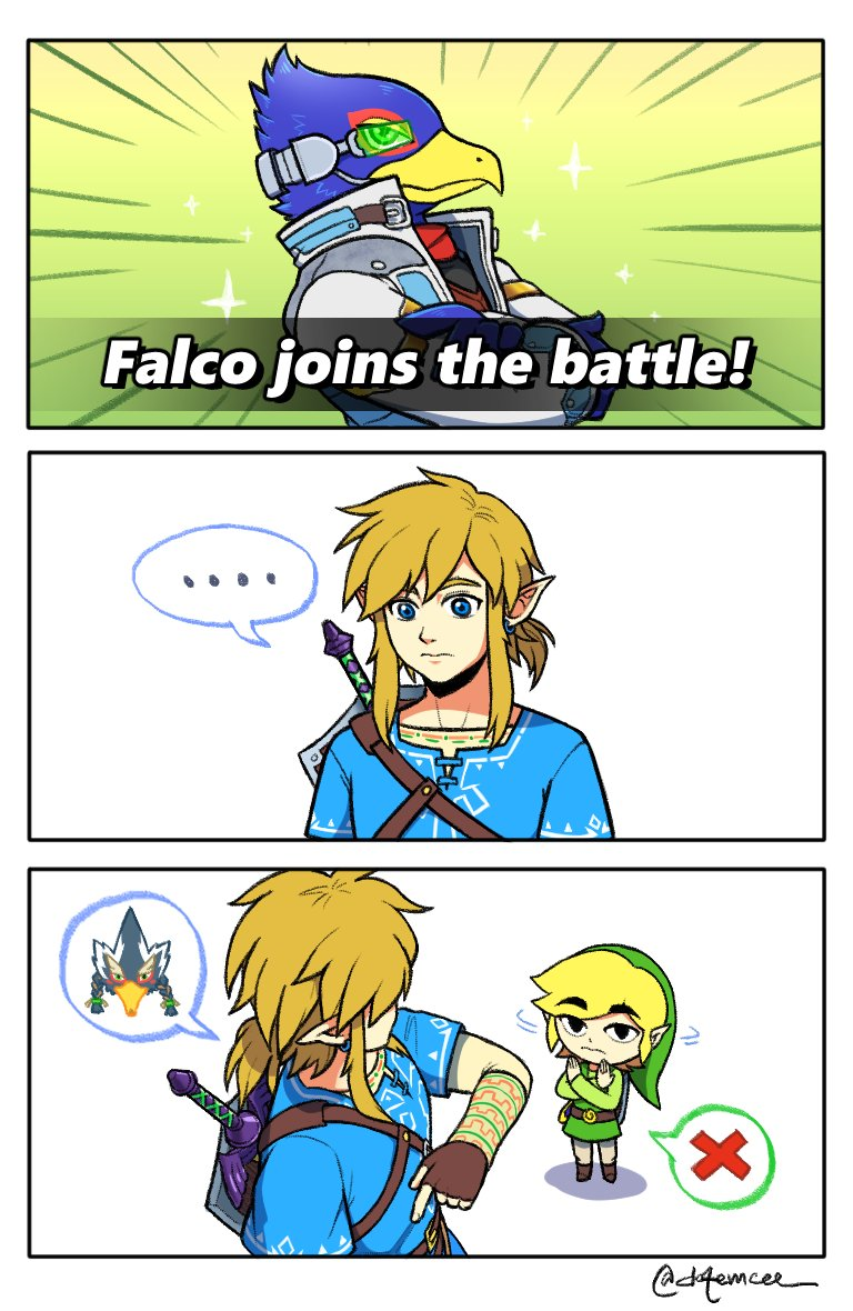 bird blonde_hair blue_eyes emcee falco_lombardi furry gloves hair_ornament link long_hair looking_at_viewer nintendo pointy_ears revali rito short_hair simple_background smile super_smash_bros. the_legend_of_zelda the_legend_of_zelda:_breath_of_the_wild the_legend_of_zelda:_the_wind_waker toon_link