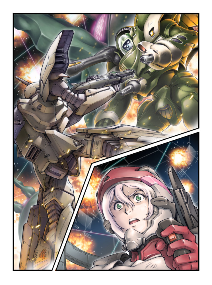 1boy 1girl alien battle chest_cannon cockpit control_stick debris dutch_angle energy_beam energy_cannon energy_gun explosion giant green_eyes gunpod helmet maclone macross mecha mexican_standoff multicolored_hair nousjadeul-ger pilot pilot_suit pink_hair power_armor ray_gun roundel s.m.s. scared science_fiction shoulder_cannon space space_craft surprised sweat turret variable_fighter vf-19 weapon white_hair zentradi