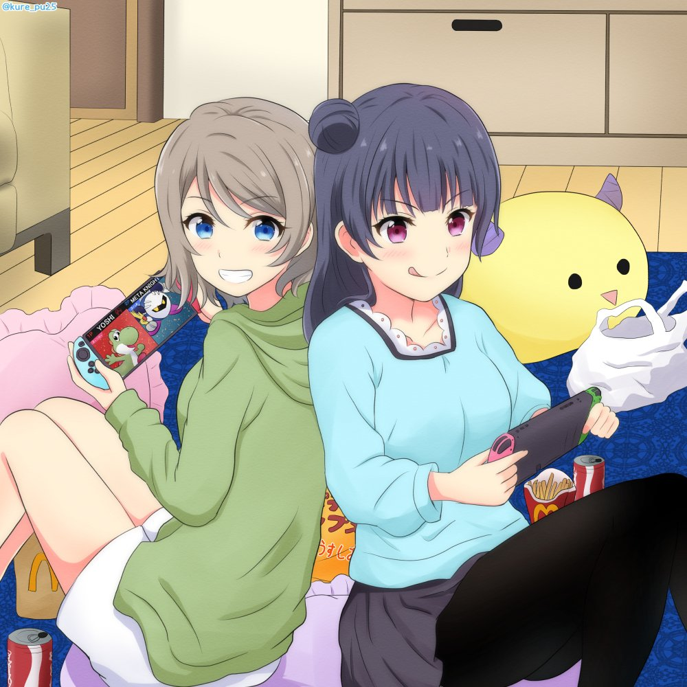 2girls 2others ascii_media_works back-to-back bushiroad commentary dinosaur food french_fries furrowed_eyebrows hair_bun hoshi_no_kirby kirby_(series) kirby_(specie) kousaka_kure licking_lips love_live! love_live!_sunshine!! mcdonald's meta_knight multiple_girls nintendo nintendo_switch playing_games smile sora_(company) sunrise_(studio) super_smash_bros. super_smash_bros._ultimate tokyo_mx tongue tongue_out tsushima_yoshiko watanabe_you yoshi yoshi's_island