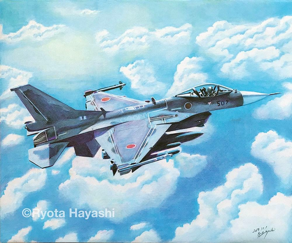 1other above_clouds aircraft airplane ambiguous_gender artist_name blue_sky clouds cloudy_sky cockpit commentary_request dated day f-2 fighter_jet hayashi_ryouta japan_air_self-defense_force japan_self-defense_force jet military military_vehicle missile outdoors pilot signature sky sunlight