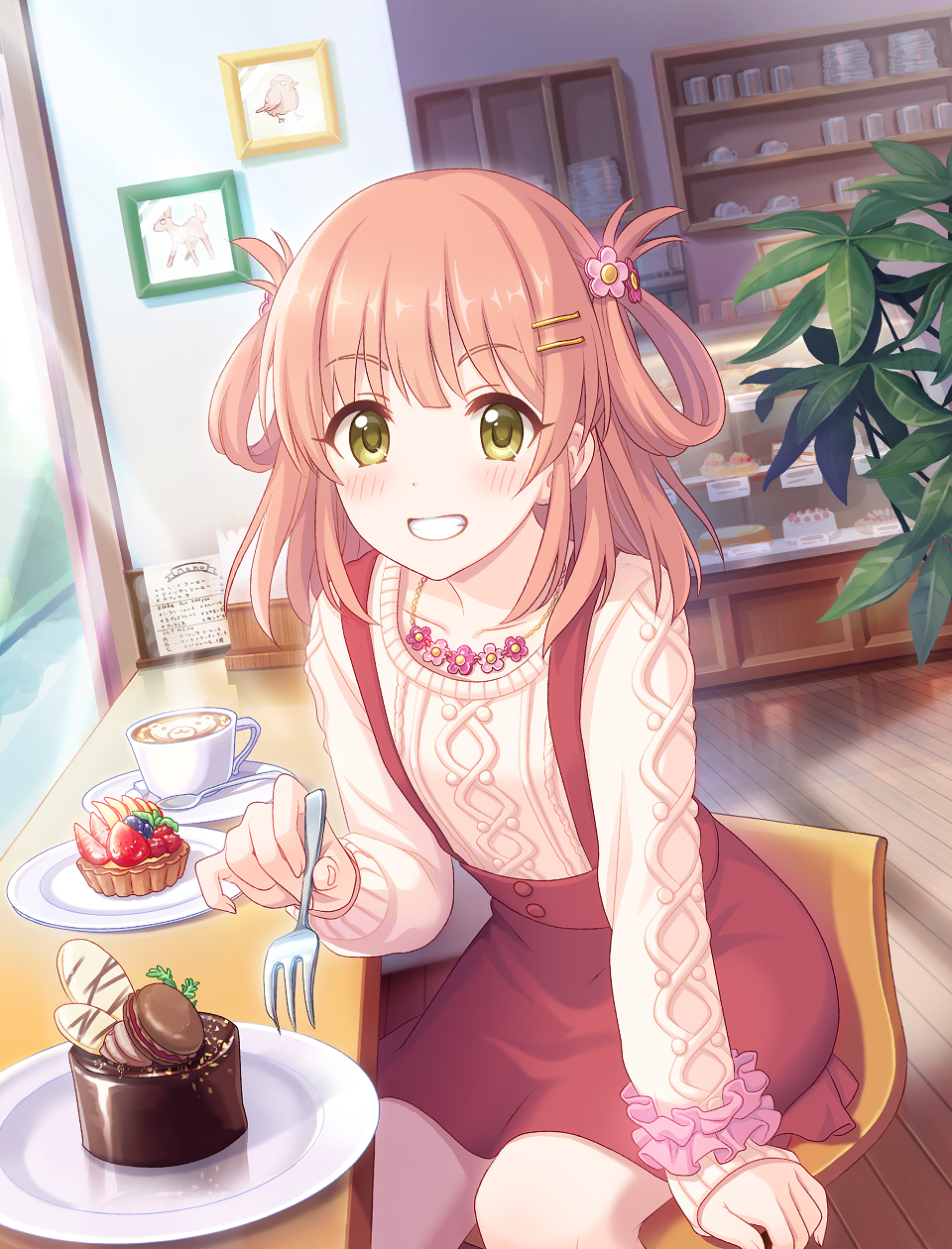 1girl blush brown_hair cake casual chair chocolate_cake coffee coffee_mug collarbone cup food green_eyes hair_ornament hair_rings hairclip highres inosaki_rino jewelry looking_at_viewer macaron mug necklace official_art orange_hair pastry pink_scrunchie plant pov princess_connect! scrunchie sitting skirt solo suspender_skirt suspenders two_side_up wrist_scrunchie yellow_eyes