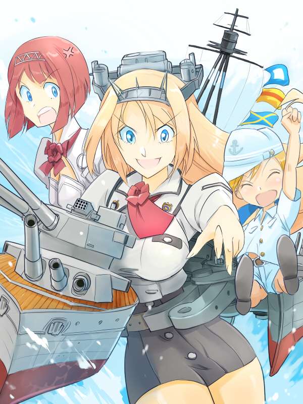 3girls adapted_turret anchor_symbol anger_vein ark_royal_(kantai_collection) bangs blonde_hair blue_eyes blunt_bangs bob_cut breasts cannon cleavage_cutout commentary_request covered_navel cowboy_shot flat_cap flower hairband hat inui_(jt1116) kantai_collection large_breasts little_girl_admiral_(kantai_collection) long_hair long_sleeves machinery mast military military_uniform multiple_girls naval_flag nelson_(kantai_collection) one_eye_closed open_mouth pencil_skirt red_flower red_rose redhead rose short_hair skirt tiara turret uniform
