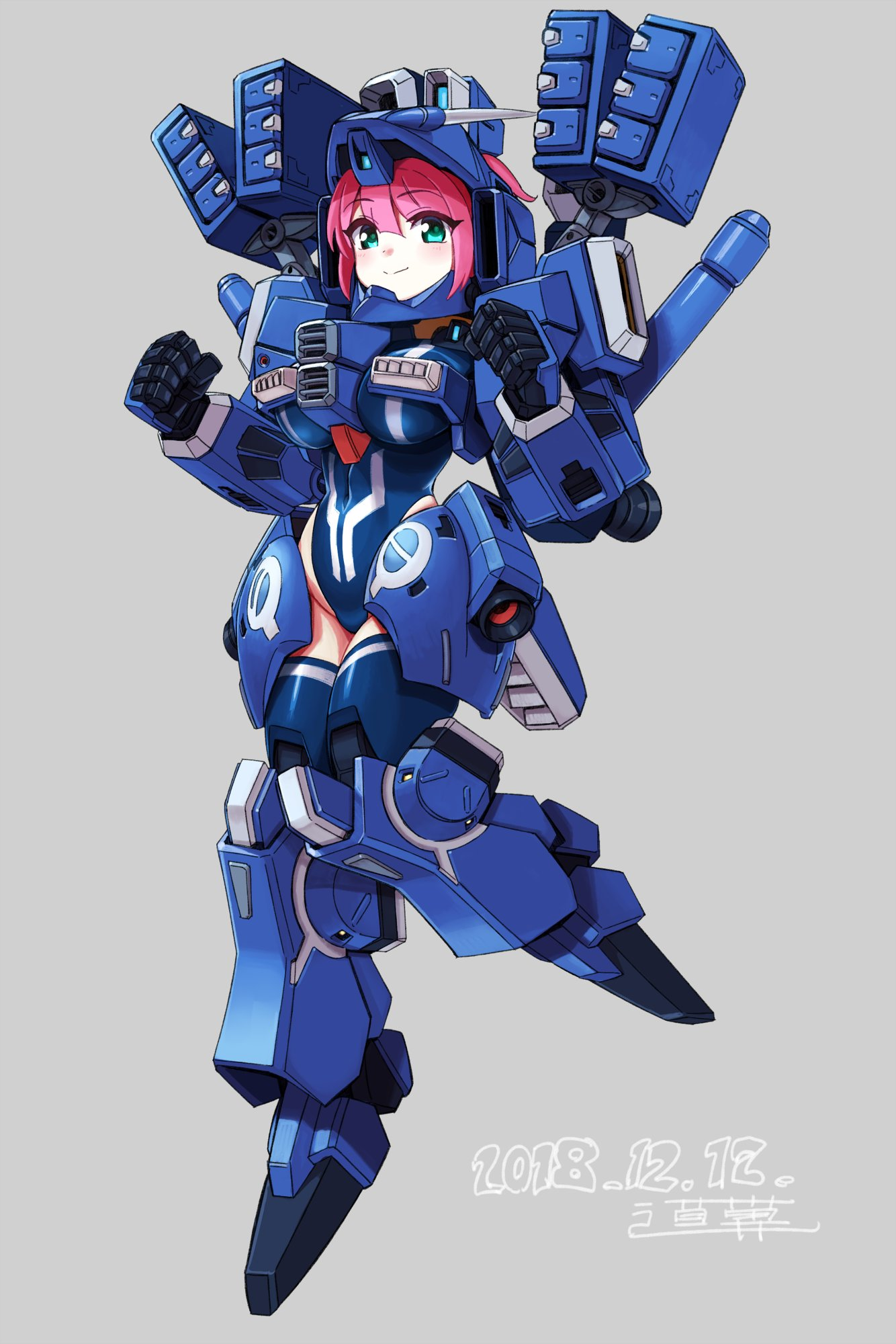 1girl armor breasts commentary_request dated full_body green_eyes grey_background gundam gundam_mk_v gundam_sentinel highres large_breasts leotard looking_at_viewer mecha_musume michi_kuso missile_pod pink_hair short_hair signature simple_background smile solo standing thrusters