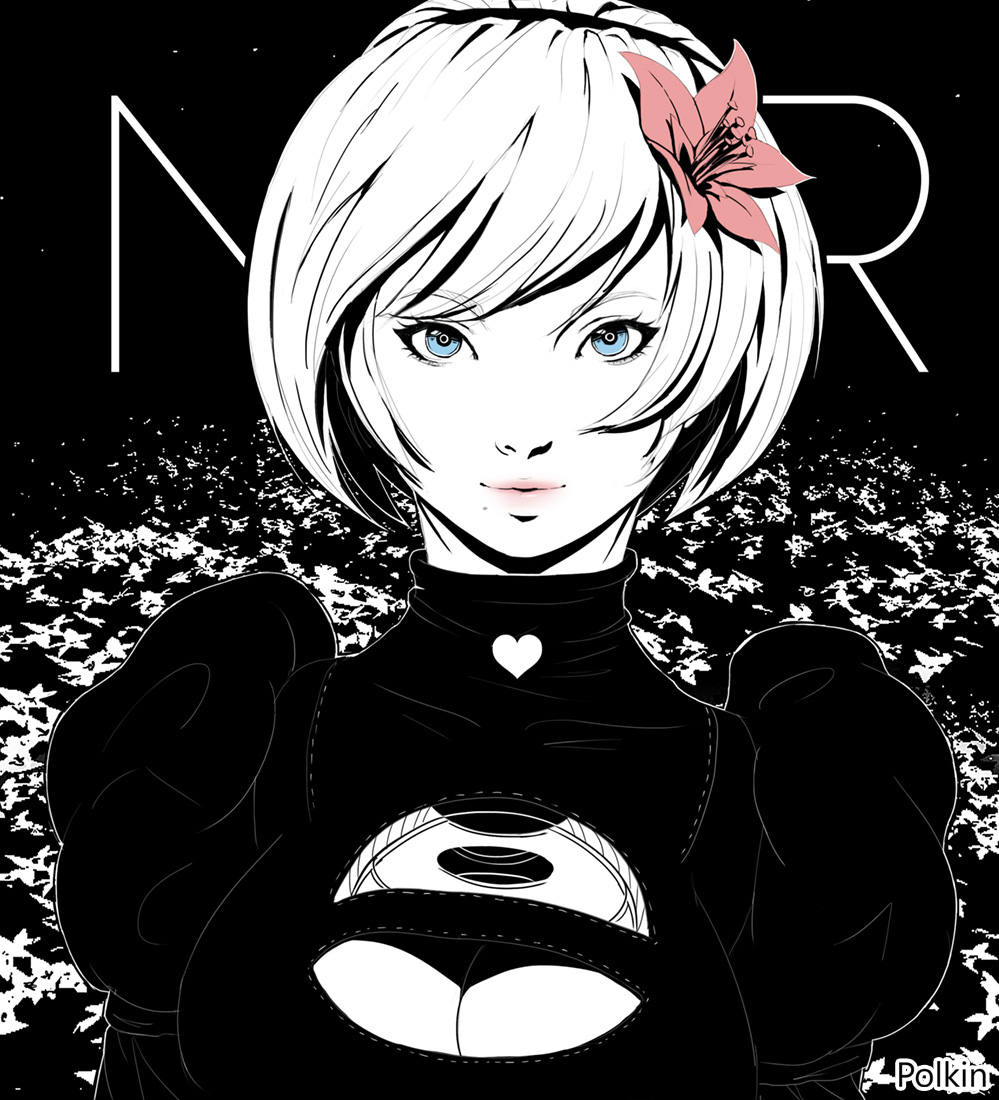 1girl artist_name bangs blue_eyes breasts cleavage cleavage_cutout commentary_request dress eyebrows_visible_through_hair flower hair_flower hair_ornament hairband heart lips long_sleeves looking_at_viewer makeup mole mole_under_mouth nier_(series) nier_automata polkin puffy_sleeves short_hair signature simple_background smile solo turtleneck upper_body yorha_no._2_type_b
