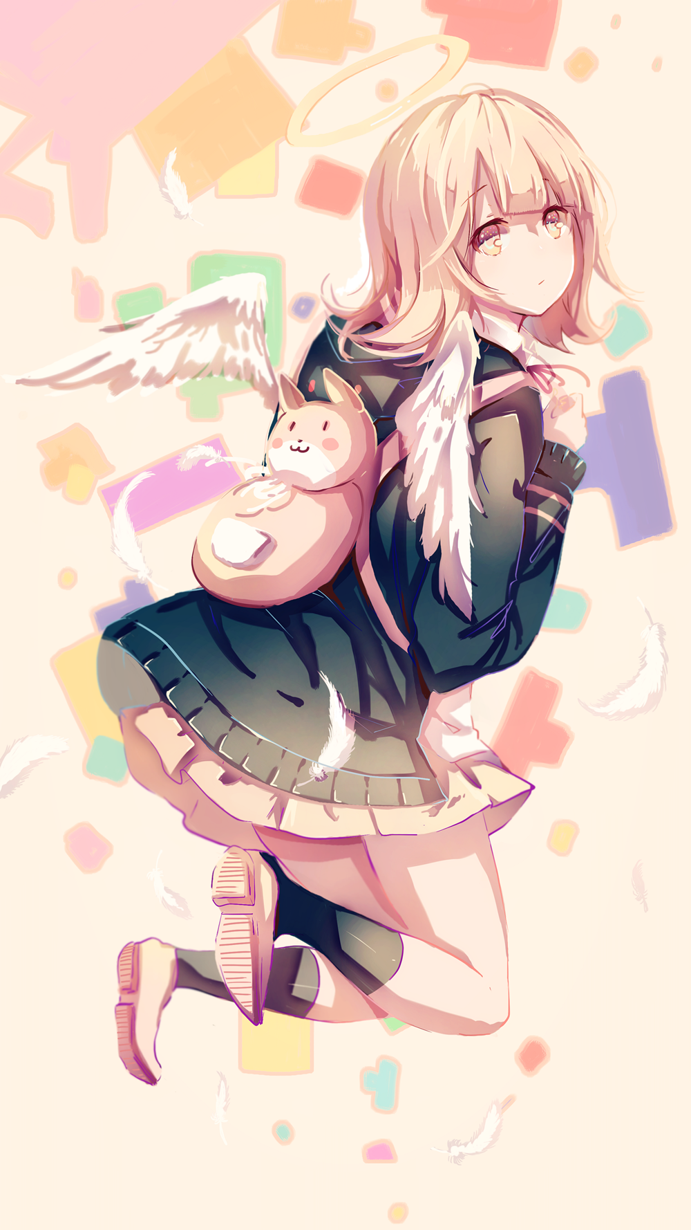 1girl :3 angel angel_wings animal_ears backpack bag bangs beige_skirt black_hoodie black_legwear blush cat_bag cat_ears commentary_request danganronpa dot_eyes eyebrows_visible_through_hair feathers flipped_hair from_behind full_body halo highres hood hoodie light_brown_eyes light_brown_hair long_sleeves looking_at_viewer looking_back nanami_chiaki no_nose open_eyes pleated_skirt pudding_(8008208820) red_neckwear shoes short_hair skirt socks solo super_danganronpa_2 white_feathers white_wings wings