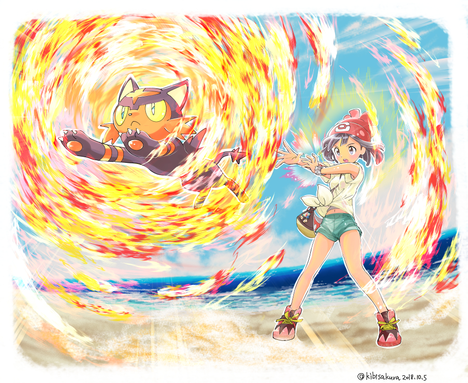 1girl battle beach cat creature creatures_(company) fire game_freak gen_7_pokemon jumping kibisakura litten mizuki_(pokemon) nintendo pixiv_username pokemon pokemon_(creature) pokemon_trainer z-ring