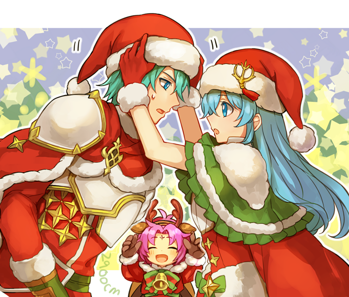 1boy 2900cm 2girls :o ^_^ adjusting_clothes adjusting_hat alternate_costume antlers aqua_eyes aqua_hair armor artist_name bell blush bow brother_and_sister brown_gloves cape capelet christmas closed_eyes crossover eirika ephraim eye_contact fa facial_mark fire_emblem fire_emblem:_fuuin_no_tsurugi fire_emblem:_seima_no_kouseki fire_emblem_heroes forehead_mark from_side fur_trim gloves green_capelet happy hat highres intelligent_systems leaning leaning_forward long_hair long_sleeves looking_at_another mamkute multiple_girls nintendo open_mouth pom_pom_(clothes) purple_hair red_cape red_clothes red_gloves red_hat reindeer_antlers santa_costume santa_hat short_hair siblings smile sweatdrop white_armor