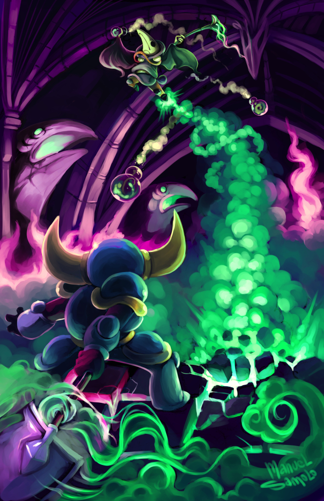 arch armor artist_name battle black_gloves explosion fire gas gloves helmet indoors jumping pink_fire plague_doctor_mask plague_knight potion samolo shovel shovel_knight shovel_knight_(character) smoke standing statue wand wide_sleeves