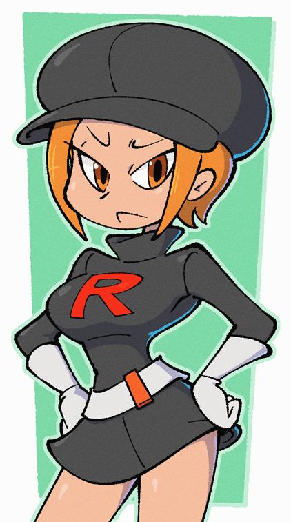 :< breasts creatures_(company) frown game_freak nintendo orange_eyes orange_hair pokemon pokemon_(game) pokemon_lgpe shenanimation skirt team_rocket team_rocket_grunt