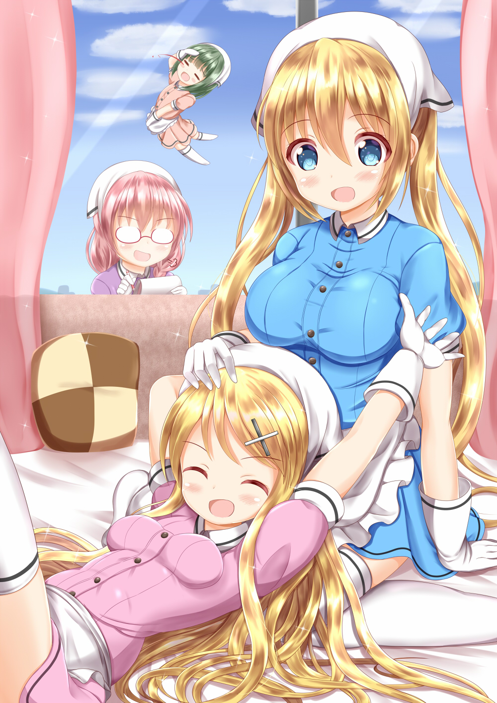 4girls :d ^_^ amano_miu apron arm_up bed_sheet blend_s blonde_hair blood blue_eyes blue_shirt blue_skirt blue_sky blush breasts brown_hair chibi closed_eyes closed_eyes clouds collared_shirt commentary_request company_connection cosplay crossover curtains day dress_shirt glasses gloves green_hair hair_ornament hairclip hand_on_another's_head head_scarf highres hinata_kaho holding holding_notepad holding_pencil indoors kin-iro_mosaic kujou_karen lap_pillow large_breasts long_hair lying manga_time_kirara matching_outfit medium_breasts multiple_girls no_shoes nosebleed notepad on_back oomiya_shinobu opaque_glasses open_mouth pencil pink_shirt pink_skirt pleated_skirt purple_shirt red-framed_eyewear semi-rimless_eyewear shirt sitting skirt sky smile stile_uniform thigh-highs twintails under-rim_eyewear uniform very_long_hair waist_apron waitress wariza white_apron white_gloves white_legwear window x_hair_ornament zenon_(for_achieve)
