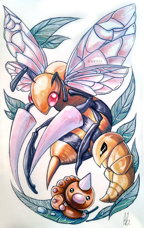 bee beedrill bug creature creatures_(company) deviantart_username evolution game_freak gen_1_pokemon horn insect kakuna leaf looking_at_viewer looking_away nintendo no_humans pokemon pokemon_(creature) red_eyes stinger striped vexnir weedle wings
