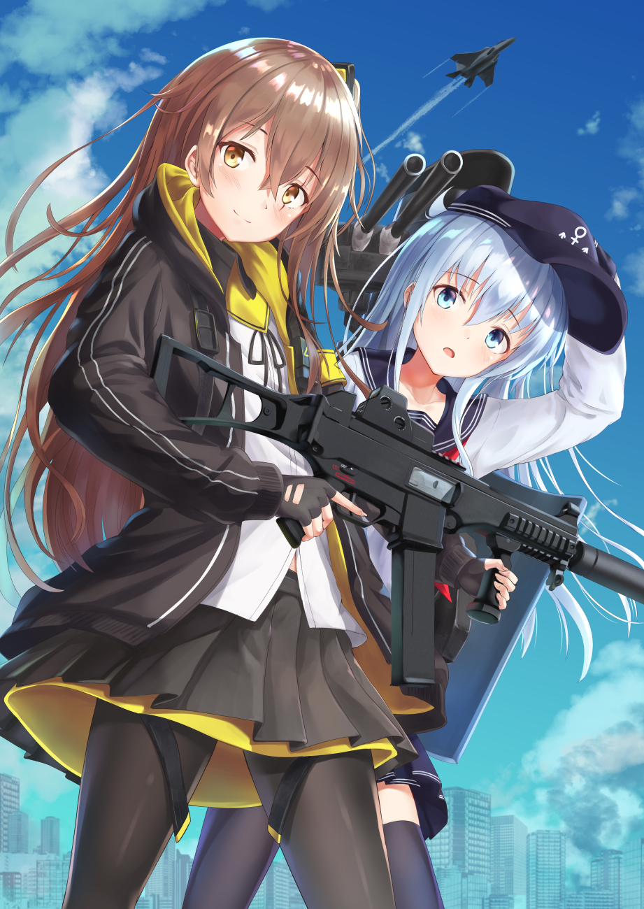 2girls aircraft airplane akabane_hibame armband bangs black_legwear black_ribbon blue_eyes blue_sky blush brown_hair cannon closed_mouth clouds condensation_trail day eyebrows_visible_through_hair fighter_jet fingerless_gloves flat_cap girls_frontline gloves gun h&k_ump h&k_ump45 hair_between_eyes hair_ornament hat heckler_&_koch hibiki_(kantai_collection) highres holding holding_gun holding_weapon hood hood_down hooded_jacket jacket jet kantai_collection long_hair long_sleeves looking_at_viewer military military_vehicle multiple_girls neck_ribbon one_side_up open_mouth outdoors pantyhose pleated_skirt ribbon rigging scar scar_across_eye school_uniform serafuku shirt sidelocks silver_hair skirt sky smile submachine_gun thigh-highs turret ump45_(girls_frontline) untucked_shirt weapon white_shirt yellow_eyes