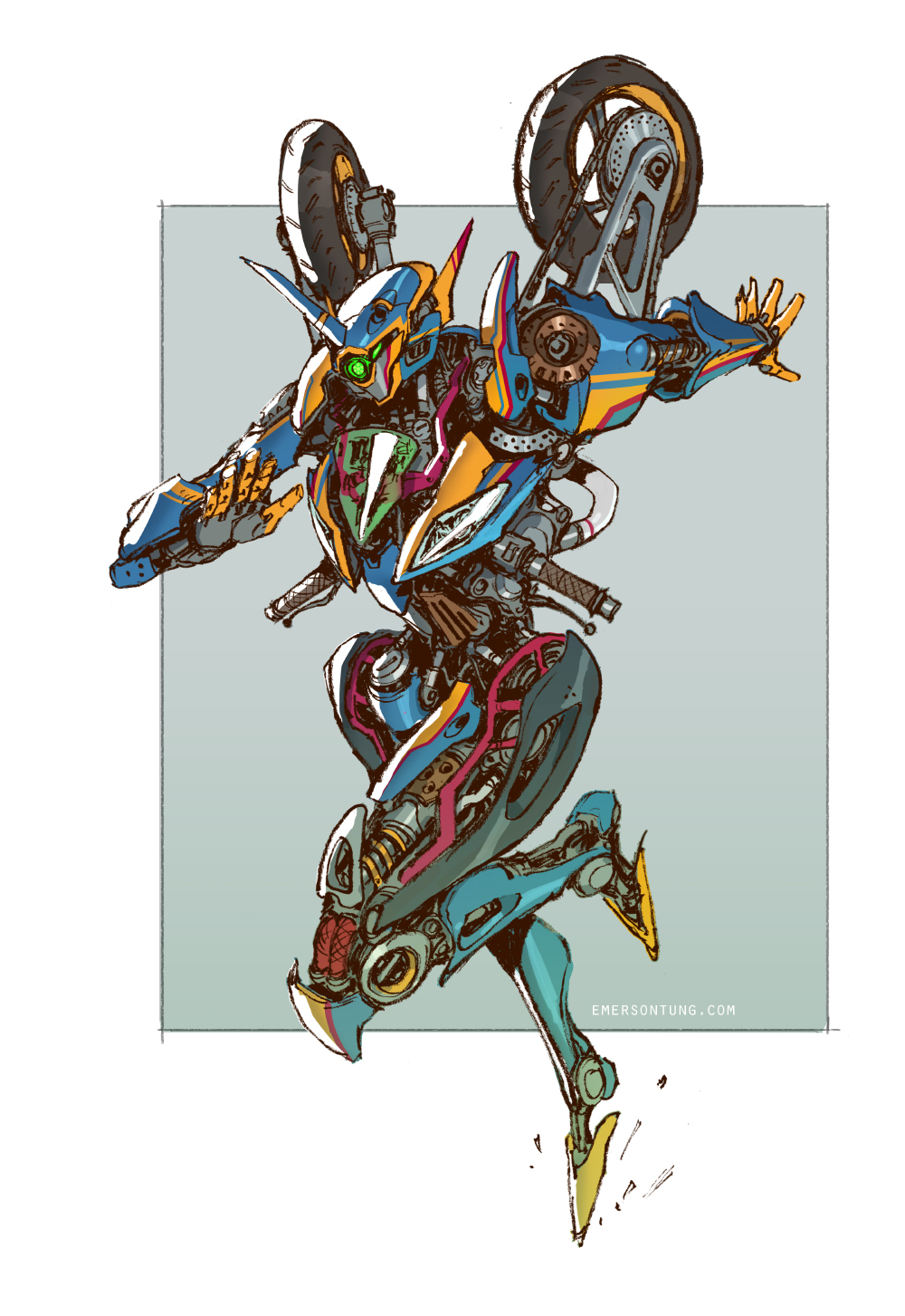 arcee autobot cable commentary debris deviantart_username emerson_tung english_commentary flying handlebar highres jumping machinery mecha original radio_antenna redesign robot science_fiction signature sketch solo tire transformers transformers_animated transformers_prime
