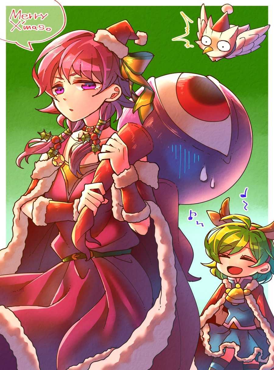 2girls alternate_costume antlers bell belt bird blue_skirt cape closed_eyes dress feh_(fire_emblem_heroes) fire_emblem fire_emblem:_rekka_no_ken fire_emblem:_seima_no_kouseki fire_emblem_heroes fur_trim green_background green_hair hat highres hzk_(ice17moon) low_twintails lute_(fire_emblem) merry_christmas monster multiple_girls nino_(fire_emblem) nintendo open_mouth owl parted_lips pom_pom_(clothes) purple_hair red_hat reindeer_antlers santa_costume santa_hat short_hair simple_background skirt twintails violet_eyes