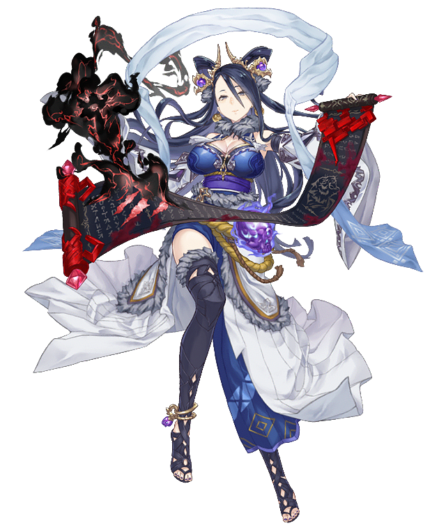 1girl anklet asymmetrical_clothes bare_shoulders black_hair breasts detached_sleeves earrings full_body fur_collar fur_trim grey_eyes hagoromo hair_ornament jewelry ji_no kaguya_hime_(sinoalice) large_breasts looking_at_viewer nail_polish official_art scroll serious shawl side_slit sinoalice skull smoke solo thigh-highs transparent_background wide_sleeves