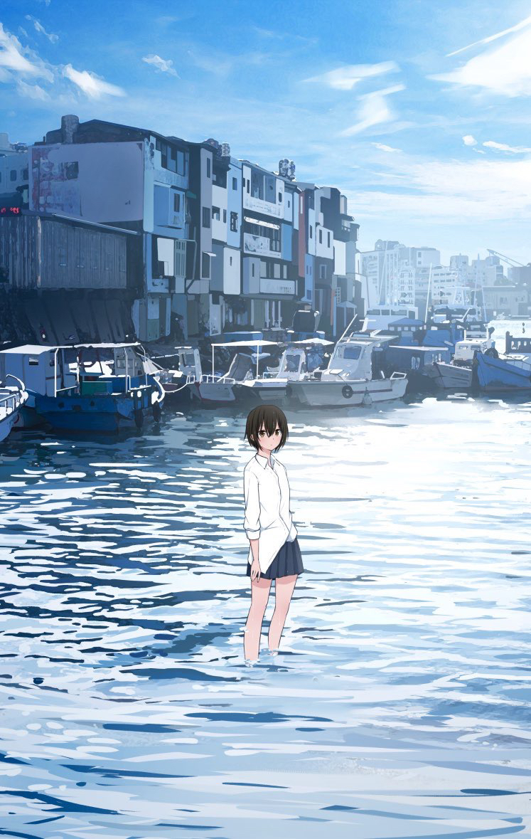 1girl bangs bare_legs black_hair blue_skirt blue_sky blush brown_eyes building cityscape closed_mouth clouds cloudy_sky collared_shirt commentary_request crane day dress_shirt hair_between_eyes long_sleeves looking_at_viewer miniskirt original outdoors pleated_skirt sakeharasu scenery school_uniform ship shirt short_hair sidelocks skirt sky solo thighs wading water watercraft white_shirt wide_shot