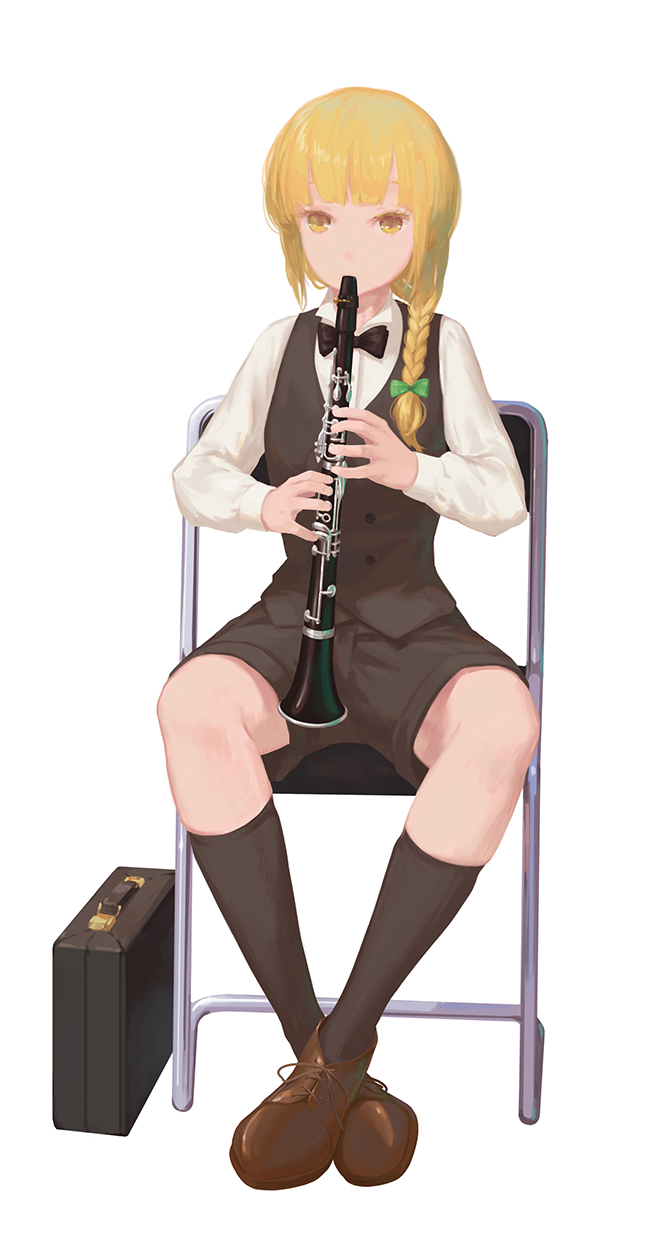 1girl alternate_costume alternate_hairstyle black_legwear black_neckwear black_shorts black_vest blonde_hair bow bowtie braid brown_footwear case chair check_instrument clarinet crossed_ankles full_body green_bow highres instrument jq kirisame_marisa kneehighs long_hair long_sleeves looking_at_viewer music on_chair playing_instrument shirt shoes shorts simple_background single_braid sitting solo touhou vest white_background white_shirt yellow_eyes