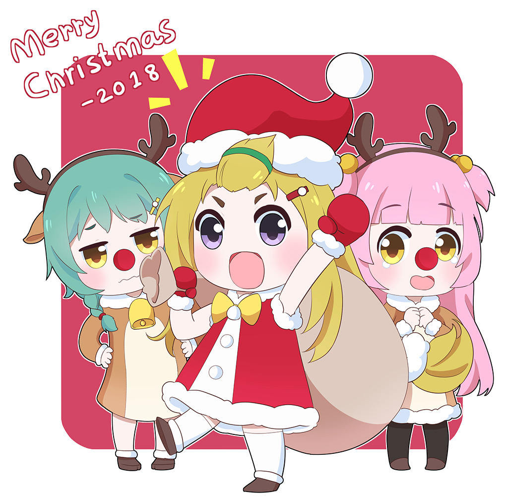 2018 3girls :d animal_costume animal_ears antlers arm_up azur_lane bangs bangs_pinned_back bell black_legwear blonde_hair blunt_bangs blush brown_dress brown_eyes brown_footwear brown_hairband charles_ausburne_(azur_lane) chibi christmas closed_mouth commentary_request dress fake_antlers foote_(azur_lane) fur-trimmed_dress fur-trimmed_hat fur-trimmed_mittens fur-trimmed_sleeves fur_trim green_hair hair_bobbles hair_ornament hairband hairclip hat holding holding_sack leaning_to_the_side leng_xiao merry_christmas mittens multiple_girls notice_lines open_mouth own_hands_together pantyhose pink_hair red_background red_dress red_hat red_mittens red_nose reindeer_antlers reindeer_costume reindeer_ears sack santa_costume santa_hat sleeveless sleeveless_dress smile spence_(azur_lane) standing standing_on_one_leg thigh-highs two-tone_background two_side_up violet_eyes wavy_mouth white_background white_legwear