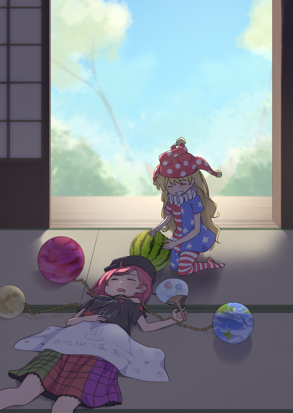 2girls american_flag_legwear american_flag_shirt blonde_hair blue_sky blurry chain closed_eyes clothes_writing clouds clownpiece day depth_of_field drooling earth_(ornament) fairy_wings fan feet_out_of_frame flower food fruit grin hand_on_own_stomach hat hecatia_lapislazuli highres holding holding_food indoors jester_cap kanpa_(campagne_9) kneeling long_hair lying moon_(ornament) morning_glory multicolored multicolored_clothes multicolored_skirt multiple_girls neck_ruff on_back onsen_symbol open_mouth paper_fan plaid plaid_skirt polka_dot_hat polos_crown redhead shirt short_hair short_sleeves shouji skirt sky sleeping sliding_doors smile t-shirt tatami touhou towel uchiwa veranda very_long_hair watermelon wings