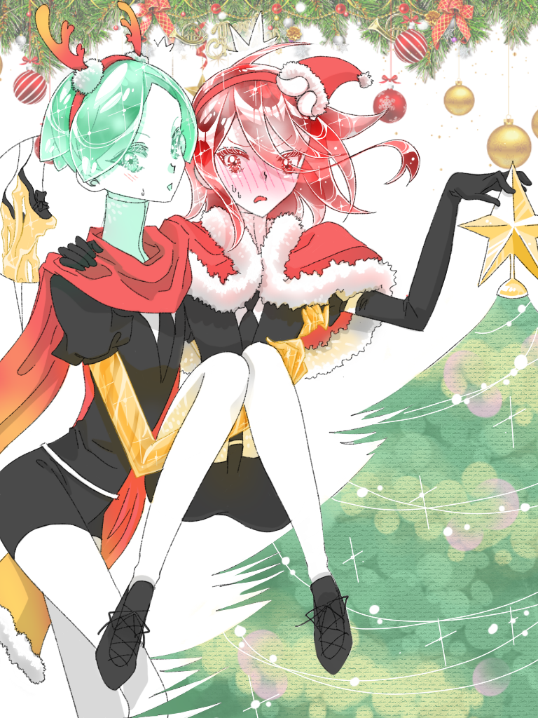 2others androgynous antlers blush capelet carrying christmas christmas_ornaments christmas_tree colored_eyelashes crystal_hair easty elbow_gloves embarrassed eyebrows_visible_through_hair eyes_visible_through_hair fur_trim gem_uniform_(houseki_no_kuni) gloves golden_arms green_eyes green_hair hand_on_another's_shoulder hat houseki_no_kuni long_bangs looking_at_viewer multiple_others necktie phosphophyllite princess_carry red_eyes redhead santa_hat scarf shinsha_(houseki_no_kuni) short_hair white_skin
