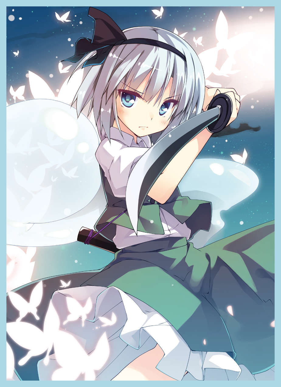 1girl black_hairband black_ribbon blue_border blue_eyes blush border bug butterfly closed_mouth fighting_stance glowing_butterfly green_vest hair_ribbon hairband highres hitodama holding holding_sword holding_weapon insect katana konpaku_youmu konpaku_youmu_(ghost) light_particles looking_at_viewer night night_sky petticoat puffy_short_sleeves puffy_sleeves ribbon serious sheath shirt short_hair short_sleeves silver_hair skirt skirt_set sky solo star_(sky) starry_sky sword t-ray touhou tsurime unsheathed v-shaped_eyebrows vest weapon white_shirt