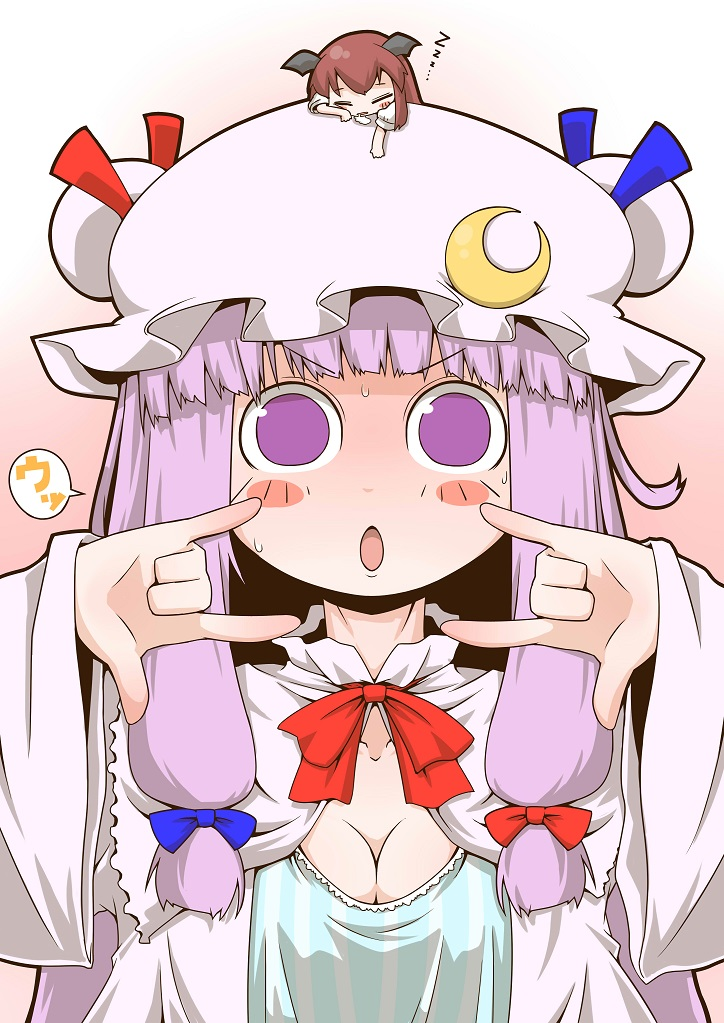 >:o :o =3 \m/ bat_wings blush_stickers bow breasts capelet chibi chibi_on_head cleavage collarbone commentary_request crescent crescent_moon_pin gradient gradient_background hair_ribbon hat hat_bow head_wings koakuma long_hair long_sleeves looking_at_viewer minigirl mob_cap on_head patchouli_knowledge pink_background purple_hair redhead ribbon short_sleeves touhou tress_ribbon v-shaped_eyebrows very_long_hair violet_eyes white_background wide_sleeves wings zannen_na_hito zzz