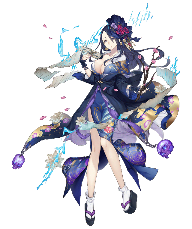 1girl asymmetrical_hair black_hair branch breasts cherry_blossoms earrings full_body grey_eyes hair_ornament japanese_clothes jewelry ji_no kaguya_hime_(sinoalice) kimono large_breasts long_hair looking_at_viewer official_art petals sandals sinoalice skull smile socks solo transparent_background wide_sleeves