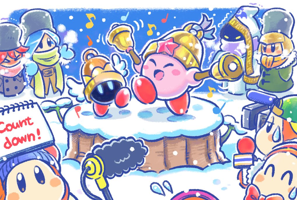 3girls beanie bell blonde_hair blue_gloves blue_hair boom_microphone coat commentary_request copy_ability earmuffs flamberge_(kirby) francisca_(kirby) gloves hands_in_pockets hat hyness kirby kirby_(series) mittens multiple_girls musical_note nintendo notepad official_art redhead ringle scarf video_camera waddle_dee winter_clothes winter_coat zan_partizanne