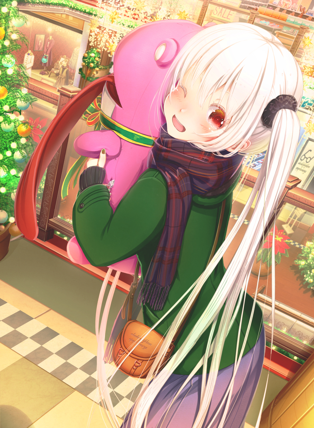 1girl ;d abo_(kawatasyunnnosukesabu) bag bangs black_scrunchie blue_scarf blush christmas christmas_ornaments christmas_tree clothes commentary_request display_case flower green_coat hair_ornament hair_scrunchie highres holding_stuffed_toy long_hair long_sleeves long_tongue looking_at_viewer mall mannequin one_eye_closed open_mouth original plaid plaid_scarf poinsettia red_eyes revision scarf scrunchie shoulder_bag skirt sleeves_past_wrists smile solo striped_nails tongue tongue_out very_long_hair white_hair