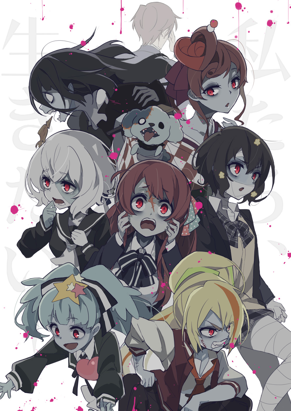 1boy 6+girls ahoge angry aqua_hair bandage bandaged_hand bandaged_head bandaged_leg bandages black_dress black_hair black_serafuku blazer blonde_hair blue_skin bow brown_hair cardigan checkered checkered_kimono collar dango_hair_ornament dog dress eyebrows_visible_through_hair facial_scar facing_away fangs food_themed_hair_ornament forehead_scar hair_between_eyes hair_ornament hair_over_one_eye hair_ribbon heart highres hoshikawa_lily jacket japanese_clothes kimono konno_junko letterman_jacket light_green_hair long_hair long_sleeves looking_at_viewer low_twintails madaragi minamoto_sakura mizuno_ai multicolored_hair multiple_girls neck_scar neckerchief necktie nikaidou_saki open_mouth orange_hair patchwork_skin plaid plaid_bow plaid_neckwear plaid_skirt polka_dot polka_dot_bow ponytail red_eyes redhead ribbon romero_(zombie_land_saga) sailor_collar scar scared school_uniform serafuku short_hair silver_hair skirt smile spiked_collar spikes splatter squid star star_hair_ornament stitches streaked_hair tatsumi_koutarou tearing_up tongue tongue_out twintails undead v-shaped_eyebrows yamada_tae yuugiri_(zombie_land_saga) zombie zombie_land_saga