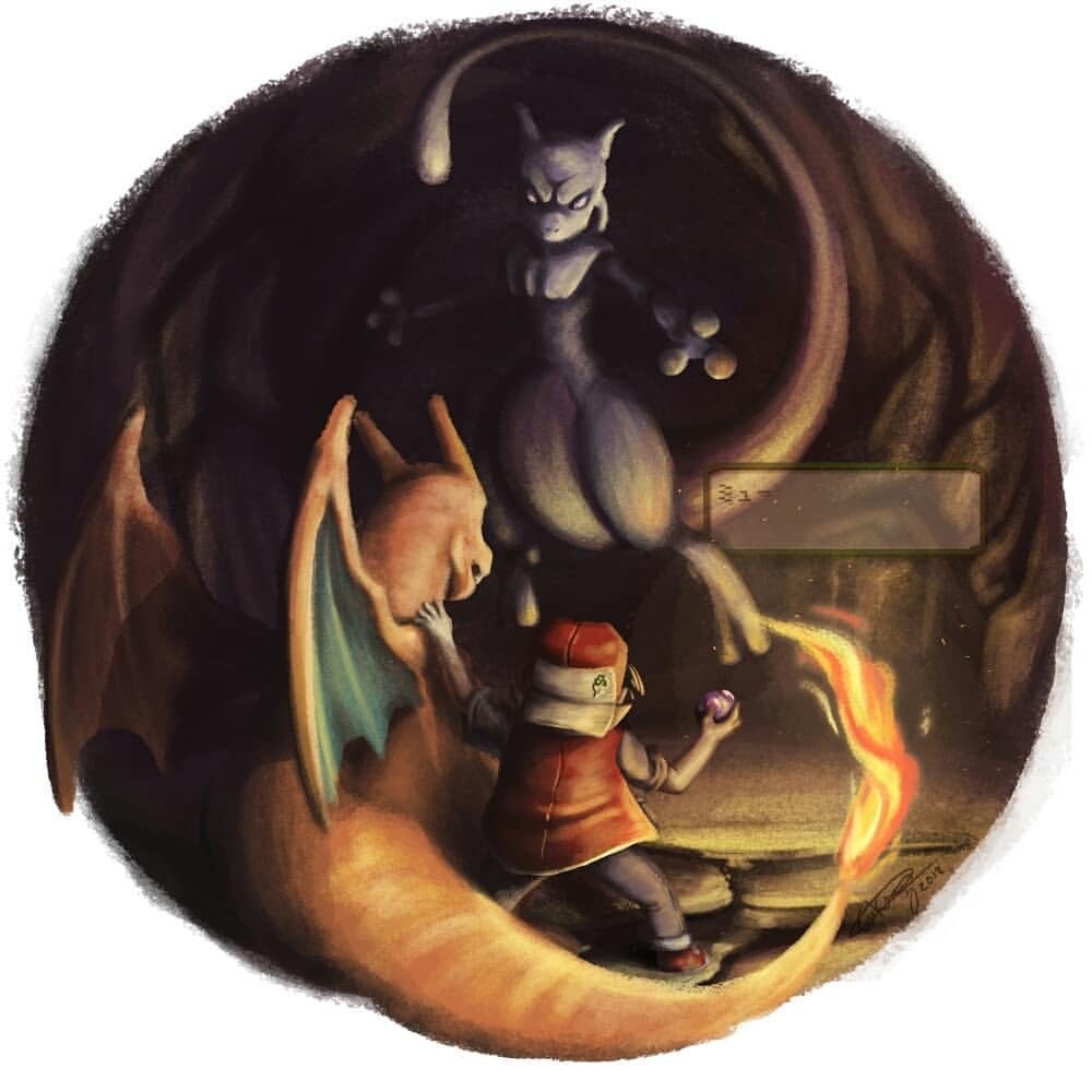 1boy 2018 backwards_hat baseball_cap black_hair blue_pants cave charizard collared_shirt commentary creature creatures_(company) dark denim dragon english_commentary eye_contact fiery_tail fire flame game_freak gen_1_pokemon giulliano_kenzo hat holding holding_poke_ball horns jeans legendary_pokemon looking_at_another master_ball mewtwo nintendo pants poke_ball pokemon pokemon_(creature) pokemon_(game) pokemon_rgby red_(pokemon) red_(pokemon_rgby) shirt short_sleeves signature tail violet_eyes wings