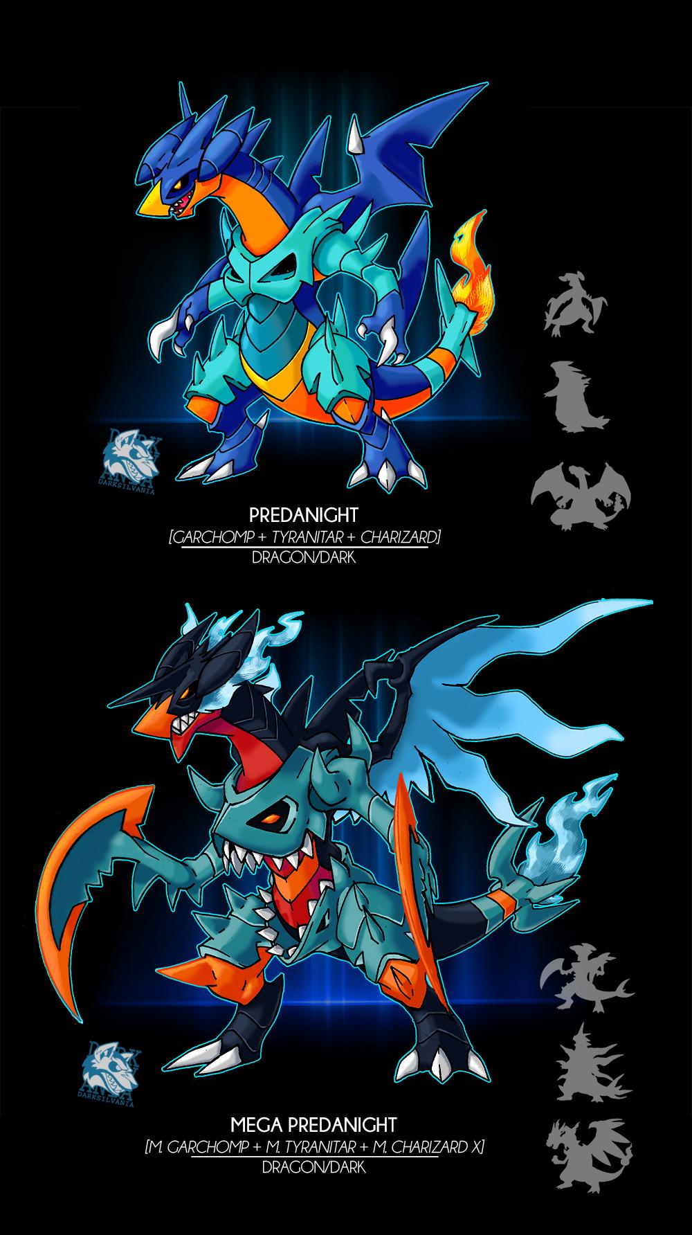charizard creatures_(company) darksilvania fusion game_freak garchomp gen_1_pokemon gen_2_pokemon gen_4_pokemon highres mega_evolution nintendo pokemon tyranitar wings