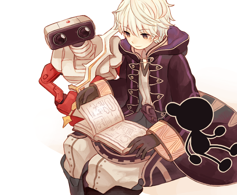 1boy 2others bangs black_gloves book brown_eyes cameo closed_mouth doseisan earthbound eyebrows_visible_through_hair family_computer_robot fire_emblem fire_emblem:_kakusei fire_emblem_awakening game_&_watch gloves hair_between_eyes intelligent_systems kou_(pixiv19672159) long_sleeves male_my_unit_(fire_emblem:_kakusei) mother_(game) mother_2 mr._game_&_watch mr._saturn my_unit_(fire_emblem:_kakusei) nintendo nintendo_ead open_book r.o.b ramblin'_evil_mushroom reflet robe robin_(fire_emblem) robin_(fire_emblem)_(male) robot short_hair simple_background sitting smile sora_(company super_smash_bros. super_smash_bros._ultimate super_smash_bros_brawl super_smash_bros_for_wii_u_and_3ds super_smash_bros_melee white_background white_hair