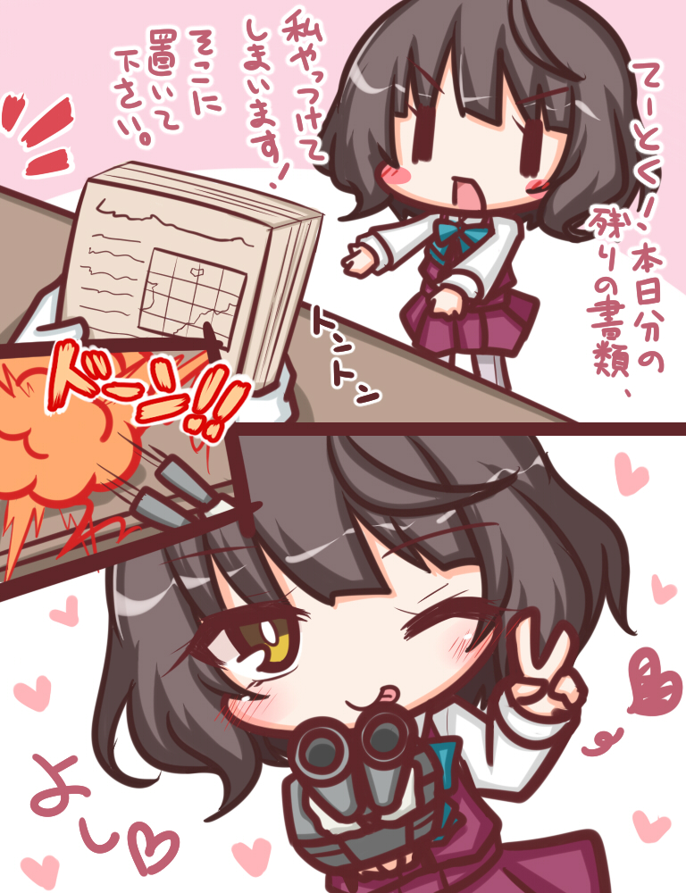 1girl ;p bangs blue_bow blush blush_stickers bow brown_eyes brown_hair cannon closed_mouth comic commentary_request dress eyebrows_visible_through_hair firing gloves hair_between_eyes heart kantai_collection kishinami_(kantai_collection) komakoma_(magicaltale) long_sleeves one_eye_closed pinafore_dress pleated_dress purple_dress school_uniform shirt sleeves_past_wrists tongue tongue_out translation_request turret v v-shaped_eyebrows white_gloves white_shirt you're_doing_it_wrong ||_||