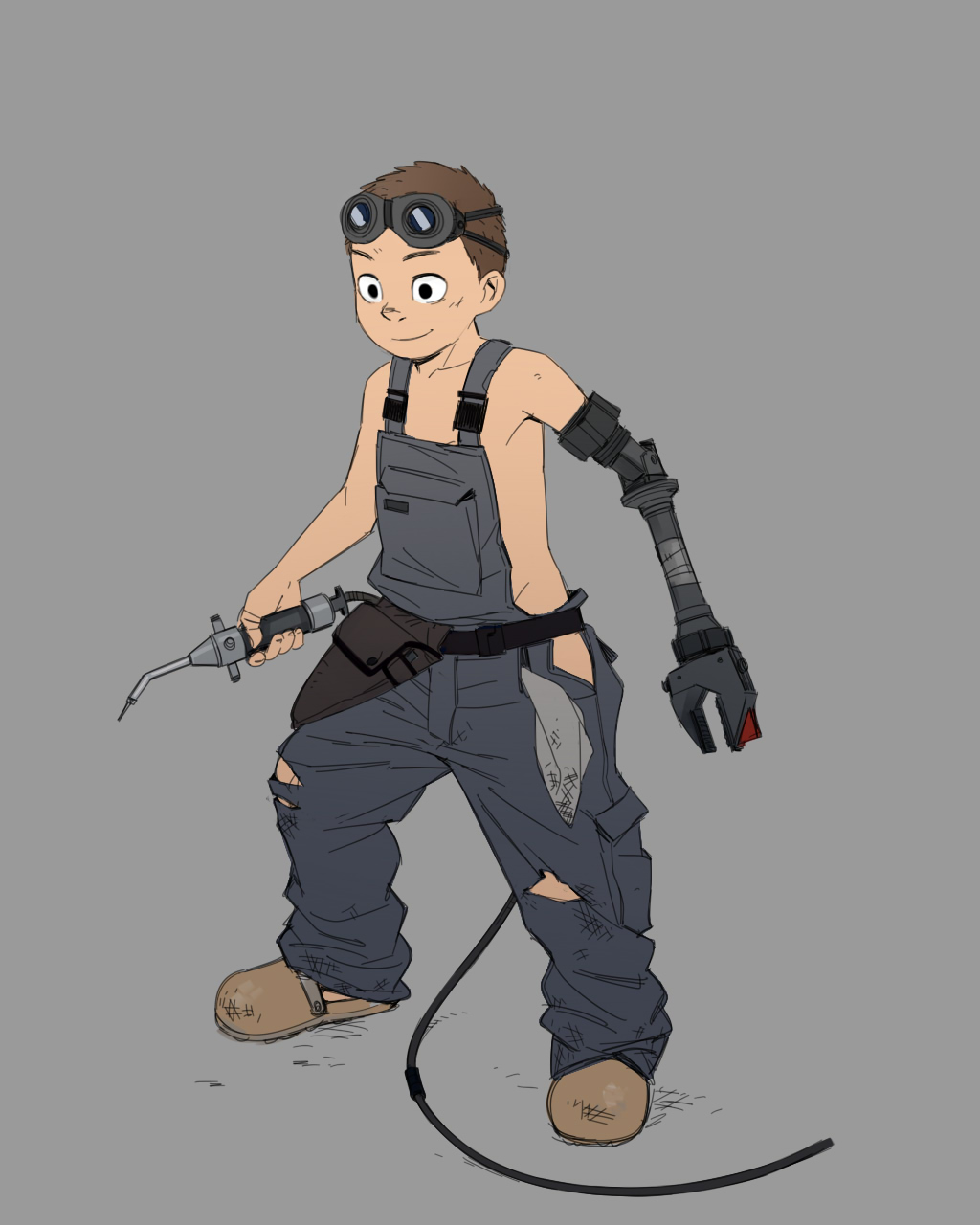 1boy amputee beige_background brown_hair dirty_clothes dirty_face folder_(69loremipsum) full_body goggles goggles_on_head highres male_focus mechanical_arm naked_overalls original overalls prosthesis prosthetic_arm shoes simple_background smile solo torn_clothes